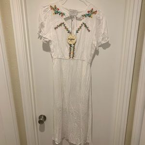 Hayden LA White Embroidered Midi Dress NWT